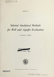 Cover of: Selected analytical methods for well and aquifer evaluation
