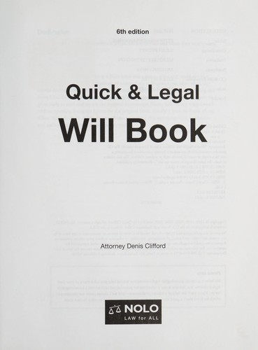 Quick & legal will book by Denis Clifford