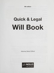 Cover of: Quick & legal will book | Denis Clifford