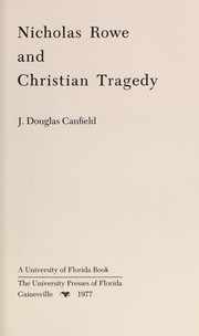 Cover of: Nicholas Rowe and Christian tragedy