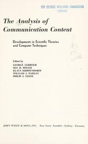 Cover of: The Analysis of communication content