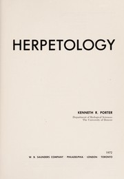 Cover of: Herpetology | Kenneth R. Porter