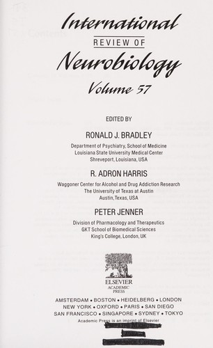 International review of neurobiology. Vol. 57 by edited by Ronald J. Bradley, Adron R. Harris and Peter Jenner.