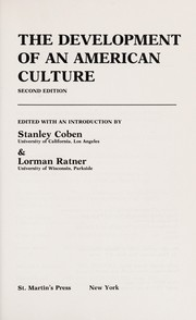 Cover of: The Development of an American culture |