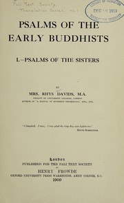 Cover of: Psalms of the early Buddhists