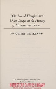 Cover of: On second thought and other essays in the history of medicine and science | Owsei Temkin