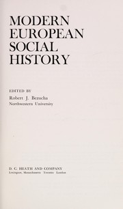 Cover of: Modern European social history