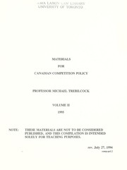 Cover of: Materials for Canadian competition policy | Michael J. Trebilcock
