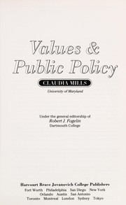 Cover of: Values & public policy