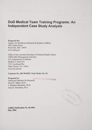 Cover of: DoD Medical Team Training Programs