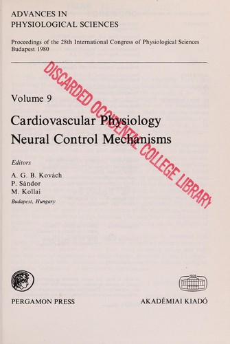 Cardiovascular physiology by International Congress of Physiological Sciences (28th 1980 Budapest, Hungary)