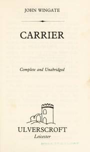 Cover of: Carrier | Anne Weale