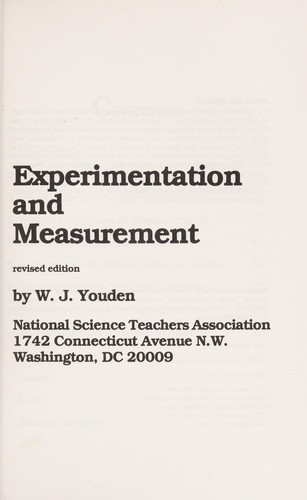 Experimentation and Measurement/Pbn 502350 by W. J. Youden