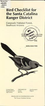 Cover of: Bird checklist for the Santa Catalina Ranger District | United States. Forest Service. Southwestern Region