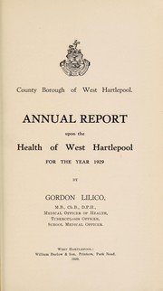 Cover of: [Report 1929] | West Hartlepool (England). County Borough Council