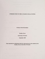 Cover of: Introduction to the Canadian legal system | David Dyzenhaus
