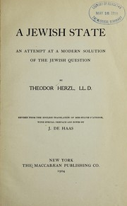 Cover of: A Jewish state | Theodor Herzl