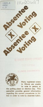 Cover of: Absentee voting | Illinois. State Board of Elections