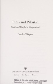 Cover of: India and Pakistan: continued conflict or cooperation?