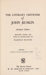 Cover of: The literary criticism of John Ruskin