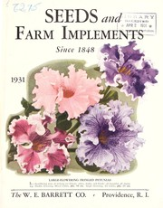 Cover of: Seeds and farm implements since 1848 | W.E. Barrett Co