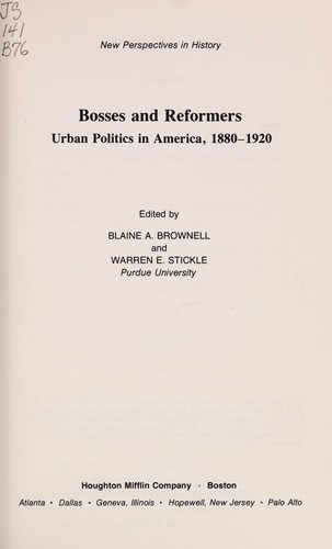 Bosses and reformers by Blaine A. Brownell