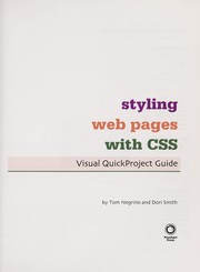 Cover of: Styling Web pages with CSS | Tom Negrino