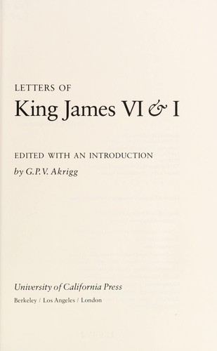 Letters of King James VI & I by King of England James I
