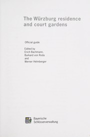 Cover of: The Wu˜rzburg residence and court gardens