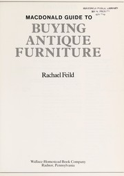 Cover of: Macdonald guide to buying antique furniture