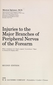 Cover of: Injuries to the major branches of peripheral nerves of the forearm | Morton Spinner