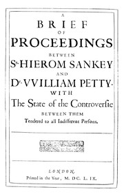 Cover of: A brief of proceedings between Sr. Hierom Sankey and Dr. VVilliam Petty