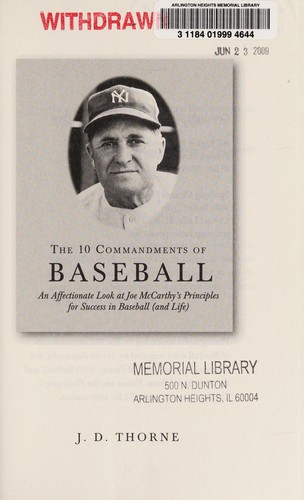 The 10 commandments of baseball by J. D. Thorne