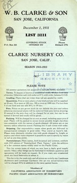 Cover of: List 3111 covering stock offered by Clarke Nursery Co | W.B. Clarke & Son