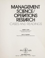 Cover of: Management science/operations research