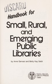 Cover of: Handbook for small, rural, and emerging public libraries