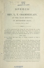 Cover of: Speech of Rev. L. T. Chamberlain at the Mass Meeting in McCormick Hall, Chicago, May 3, 1875