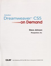 Cover of: Adobe Dreamweaver CS5 on demand | Johnson, Steve