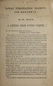 Cover of: A letter from Peter Cooper