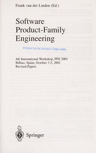 Software product-family engineering by PFE 2001 (2001 Bilbao, Spain)