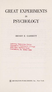Cover of: Great experiments in psychology | Henry Edward Garrett
