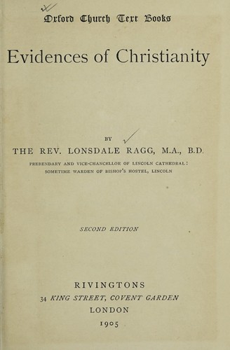 Evidences of Christianity by Lonsdale Ragg
