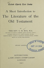 Cover of: A short introduction to the literature of the Old Testament