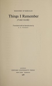 Cover of: Things I remember (I miei ricordi)