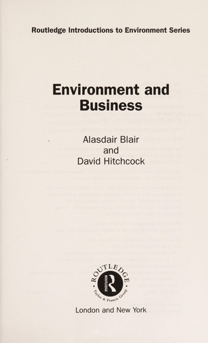 Environment and business by A. M. Blair