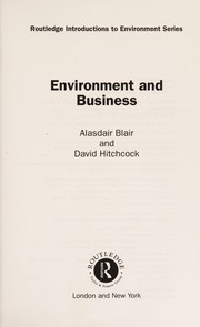 Cover of: Environment and business | A. M. Blair