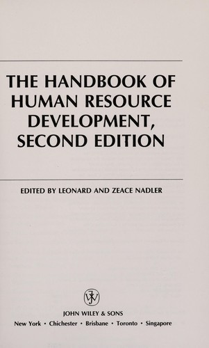 The Handbook of human resource development by edited by Leonard and Zeace Nadler.