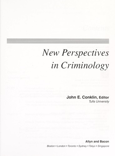 New perspectives in criminology by John E. Conklin, editor.