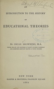Cover of: An introduction to the history of educational theories