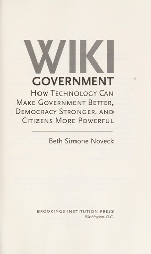 Wiki government by Beth Simone Noveck